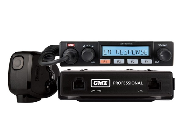 GME CM60-U5R 5 Watt, 450-520MHz Transceiver, Remote Control with Black Control Head. (CM60U5B Radio, RH006 Control Head & MP600B Fist Microphone)