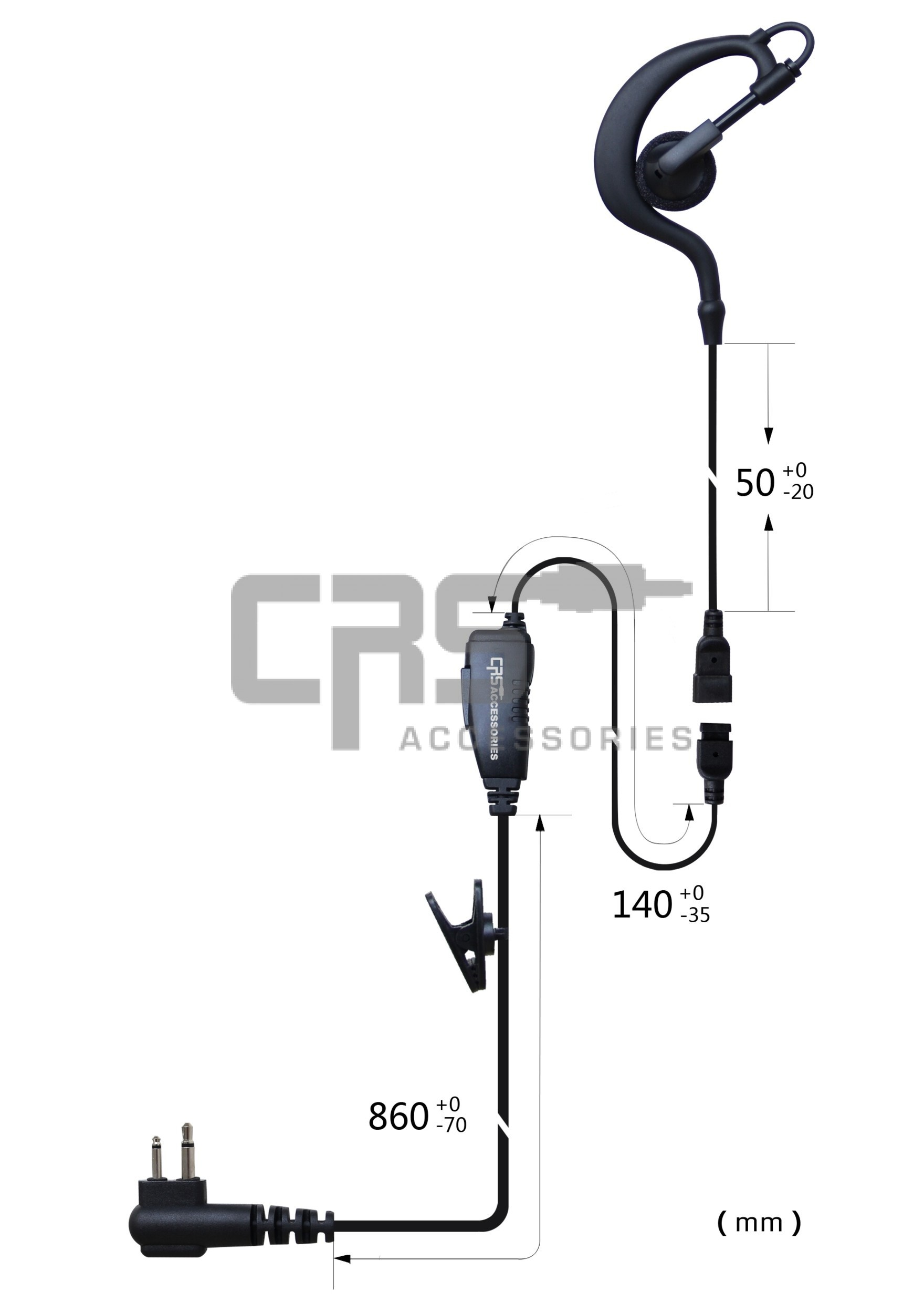 CRS Single Wire Earhook Earpiece with Inline PTT/MIC to suit Motorola/HYT 2 pin