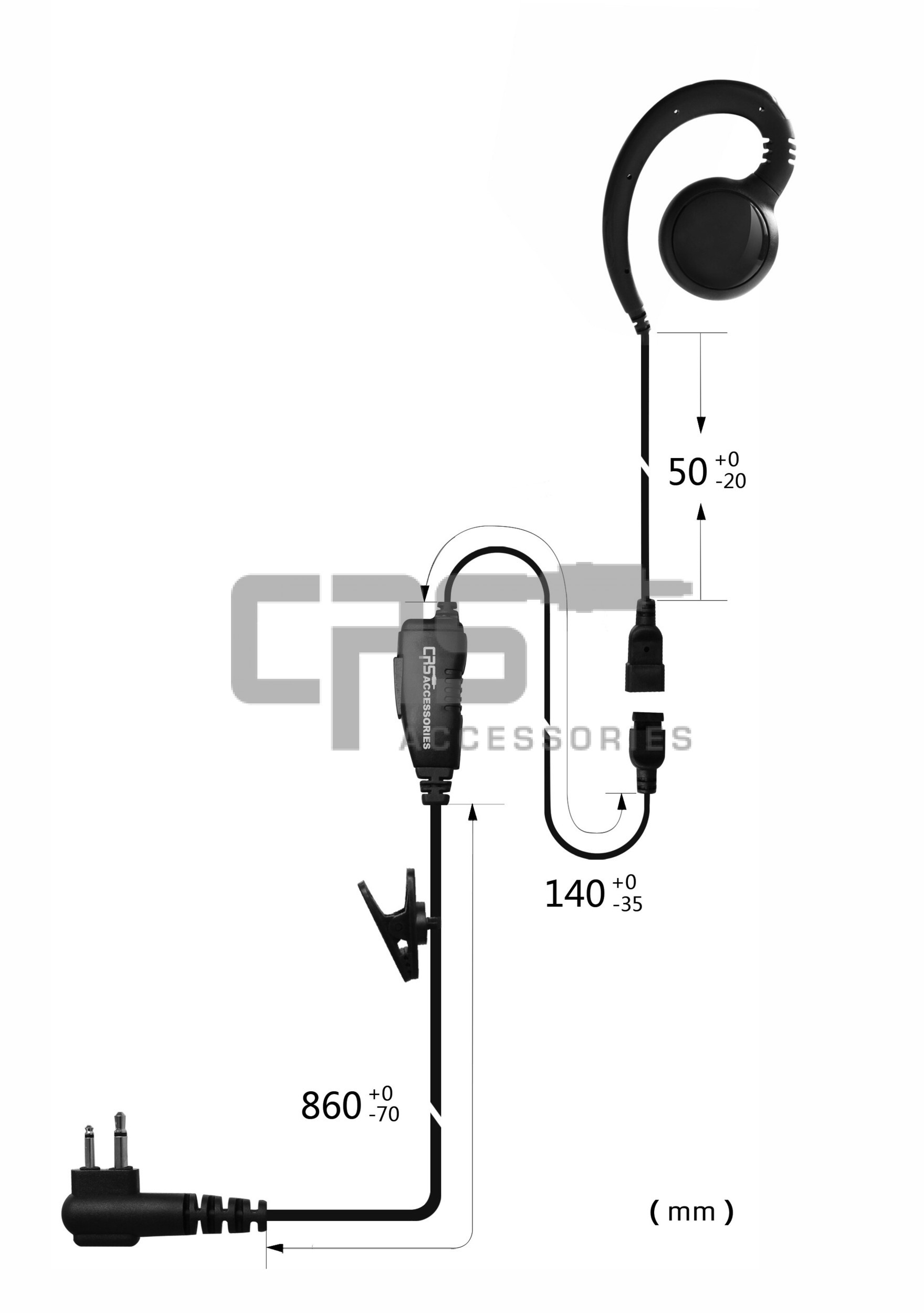 CRS 1 Wire GHOOK earpiece with Inline PTT/MIC to suit Icom 2 pin R/A locking IC-41W/IC-41Pro