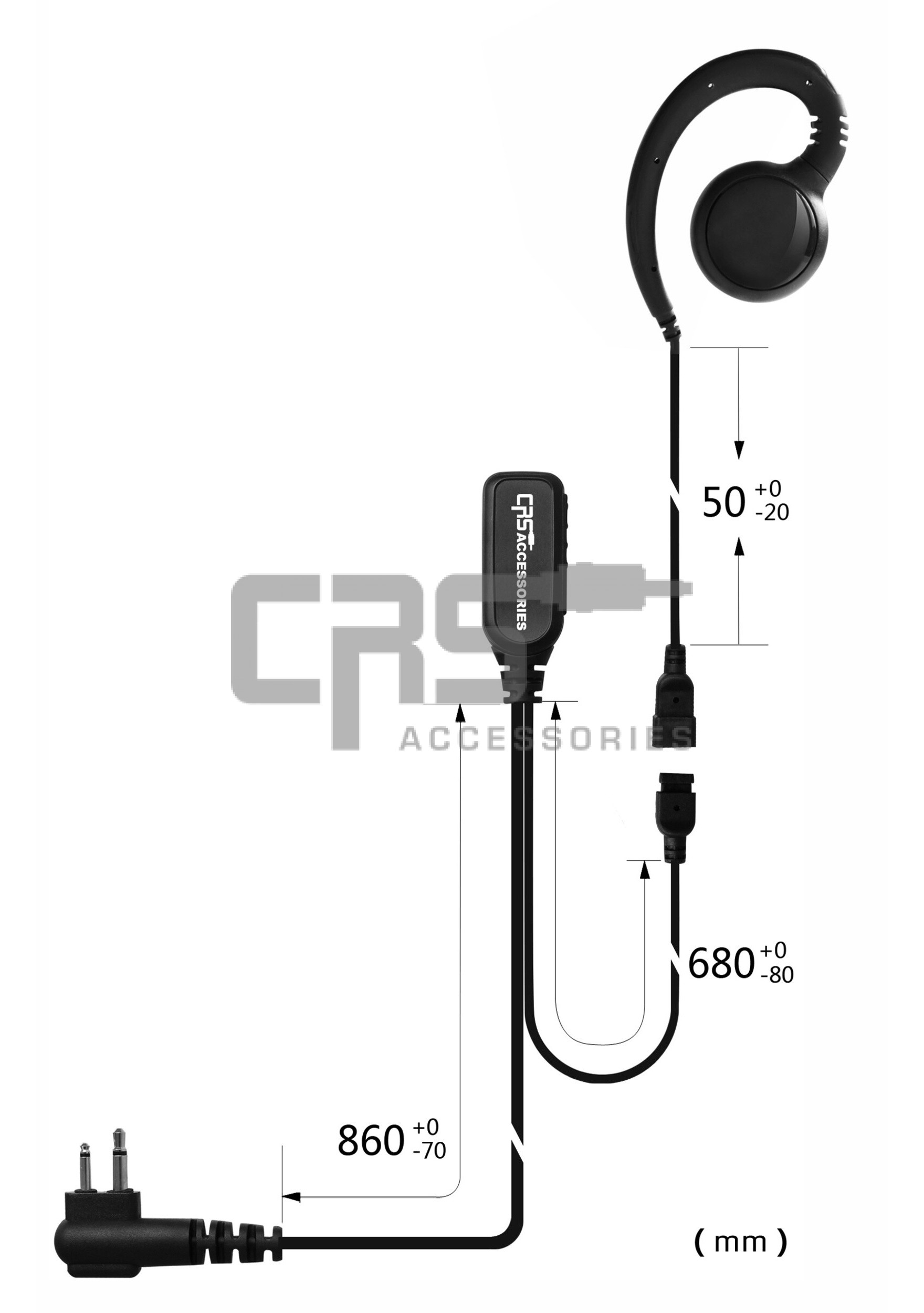CRS 2 Wire G Hook Earpiece to suit Kenwood 2 pin
