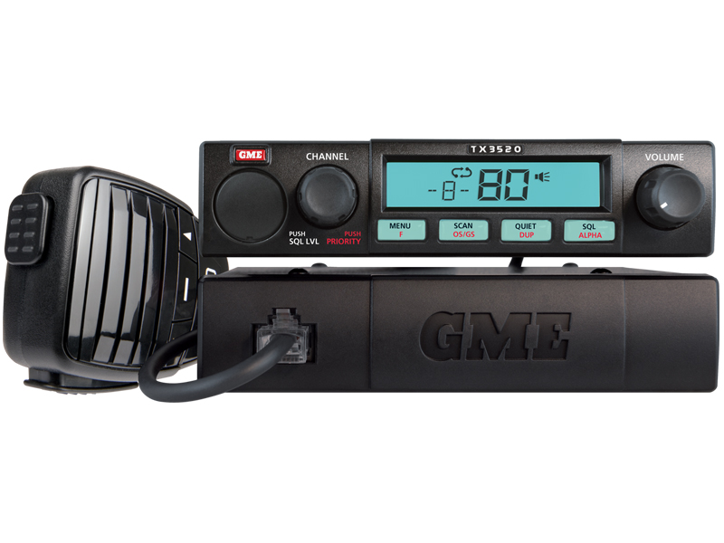 GME TX3520 Mobile UHF 5 Watt 80 Channel Fully Featured Remote Head with Scan Suite