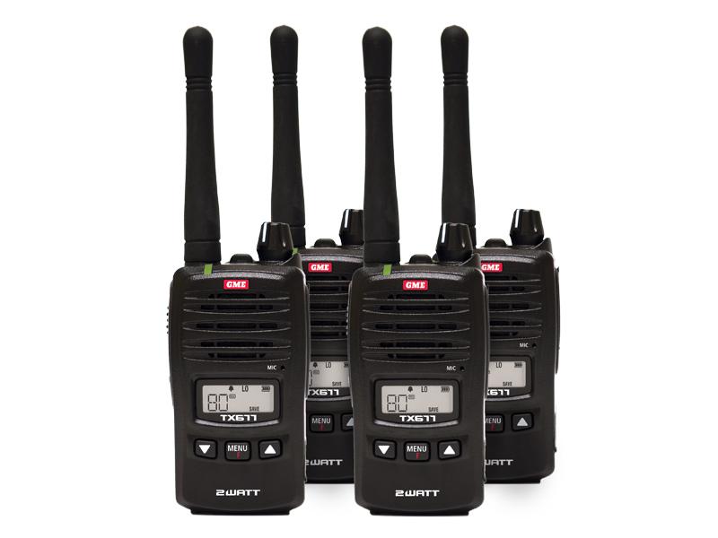 GME TX677QP Portable UHF 2/1 Watt 80Ch Compact Quad Pack