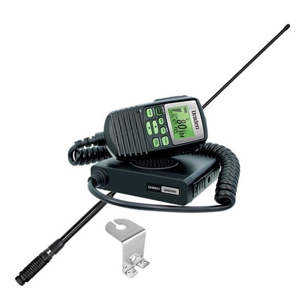 Uniden UH5060VP Mobile CB UHF 5W 80Ch Radio, AVS, Mini Compact Size Remote LCD Spkr Mic incl AT850 Antenna & Z Bracket.