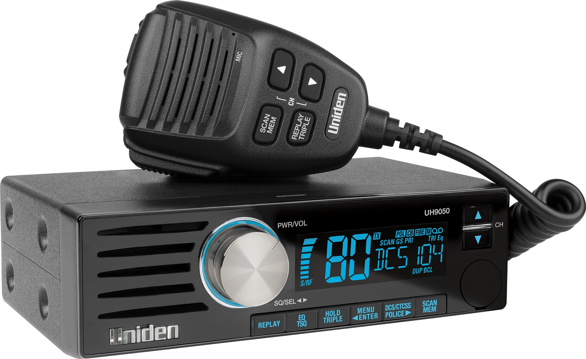 Uniden UH9050 UHF CB – DIN Size with Smart MIC Technology and Instant Replay Function