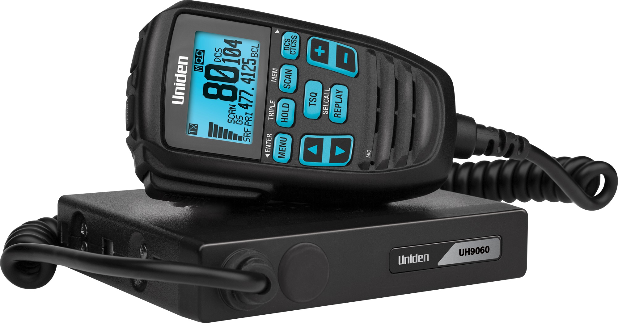 Uniden UH9060 80Ch Mini Compact UHF CB Mobile with Remote Speaker with Large LCD with Smart Mic Technology. 12/24V