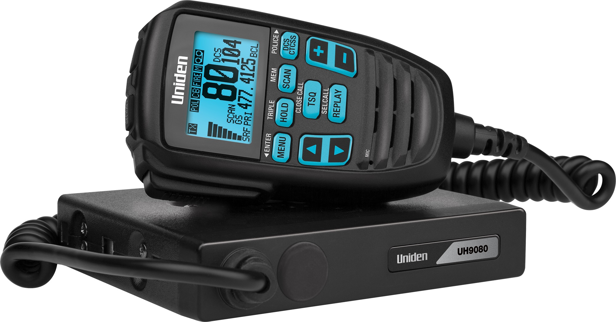 Uniden UH9080 80Ch Mini Compact UHF CB Mobile with Remote Speaker with Large LCD with Smart Mic Technology and Built in Scanner. 12/24V
